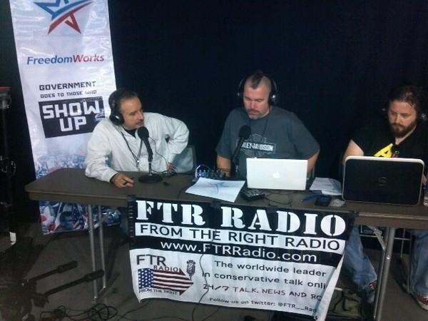 Tom Borelli with Fingers Malloy and John Brodigan of FTR Radio